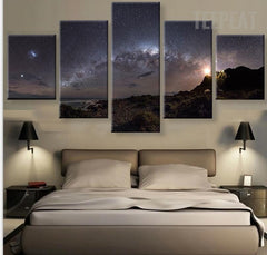Stars Of The Milky Way Galaxy - 5 Piece Canvas Painting