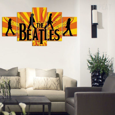 The Beatles' Famous Walk Painting - 5 Piece Canvas-Canvas-TEEPEAT