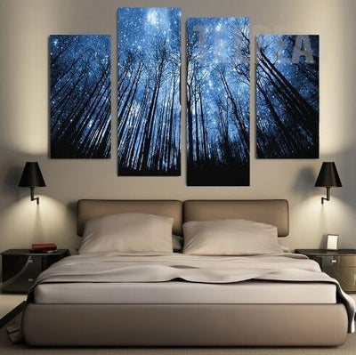 Starry Night In The Woods Painting - 4 Piece Canvas-Canvas-TEEPEAT
