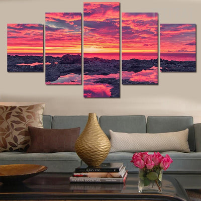 Sunset By The Beach Painting - 5 Piece Canvas-Canvas-TEEPEAT