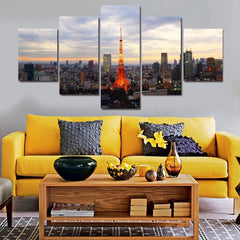 Tokyo, Japan Tower Painting - 5 Piece Canvas