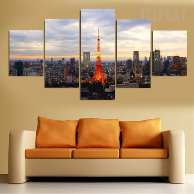 Tokyo, Japan Tower Painting - 5 Piece Canvas-Canvas-TEEPEAT