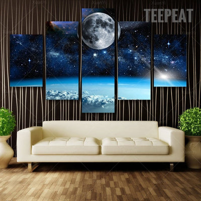 The Moon In Space Painting - 5 Piece Canvas-Canvas-TEEPEAT
