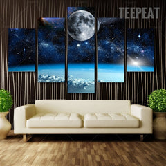 The Moon In Space Painting - 5 Piece Canvas