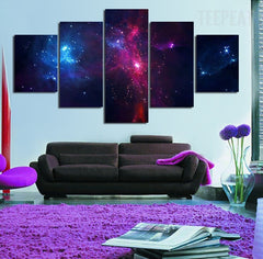 Swirling Landscape Of Stars Painting - 5 Piece Canvas