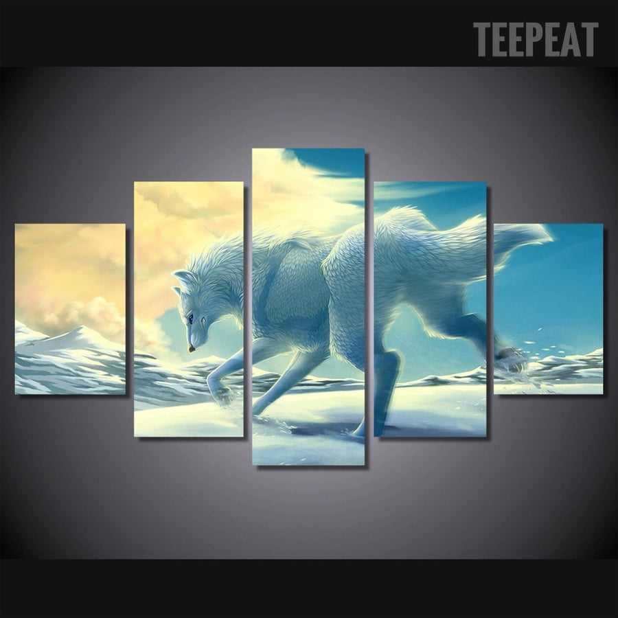 White Wolf In The Snow Painting - 5 Piece Canvas