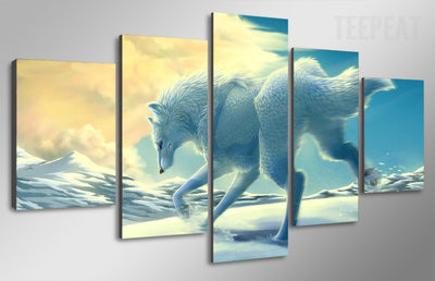 White Wolf In The Snow Painting - 5 Piece Canvas-Canvas-TEEPEAT