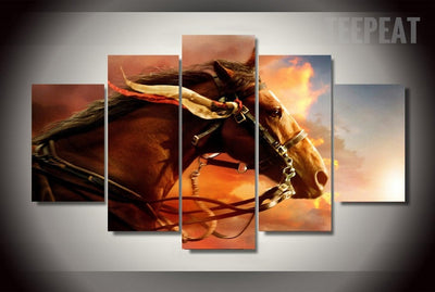 Horse Painting - 5 Piece Canvas-Canvas-TEEPEAT