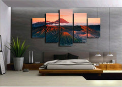 Mountains In The Sunset- 5 Piece Canvas Painting