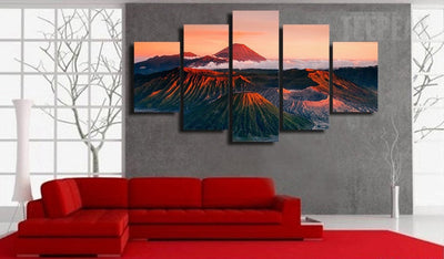 Mountains In The Sunset- 5 Piece Canvas Painting-Canvas-TEEPEAT