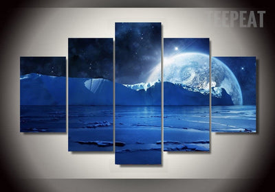 Iceberg In The Sea Painting - 5 Piece Canvas-TEEPEAT