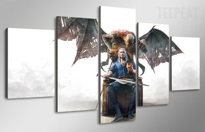 Witcher Characters Painting - 5 Piece Canvas-Canvas-TEEPEAT