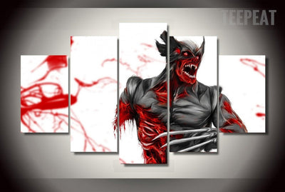 Wolverine Painting - 5 Piece Canvas-Canvas-TEEPEAT