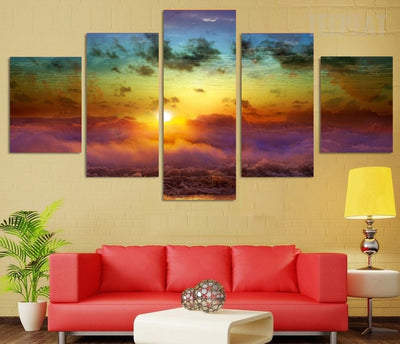 Sun Clouds Painting - 5 Piece Canvas-Canvas-TEEPEAT