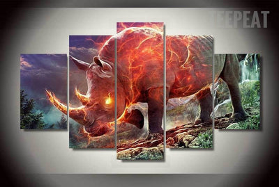 Fiery Rhinoceros Wall Art - 5 Piece Canvas-Canvas-TEEPEAT