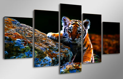 Little Tiger Painting - 5 Piece Canvas-Canvas-TEEPEAT