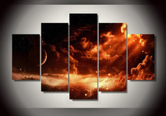 Red Space Painting - 5 Piece Canvas