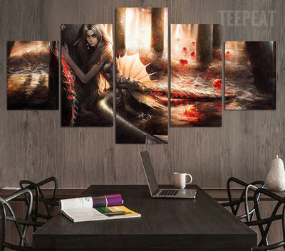 Rusalka Hvost Volna Painting - 5 Piece Canvas-Canvas-TEEPEAT
