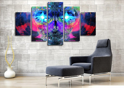 Psychedelic Skull Painting - 5 Piece Canvas-Canvas-TEEPEAT