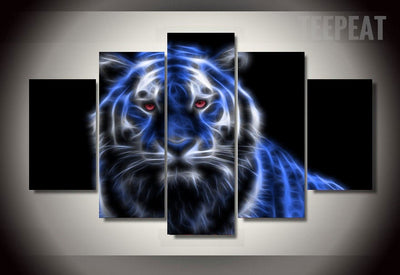 Glowing Tiger Painting - 5 Piece Canvas-Canvas-TEEPEAT