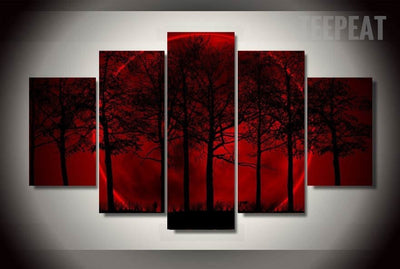 Red Moon Painting - 5 Piece Canvas-Canvas-TEEPEAT