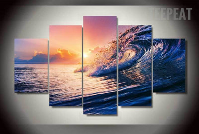 Ocean Wave Painting - 5 Piece Canvas-Canvas-TEEPEAT