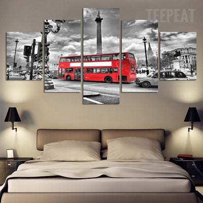 Red Bus In The City - 5 Piece Canvas Painting-Canvas-TEEPEAT