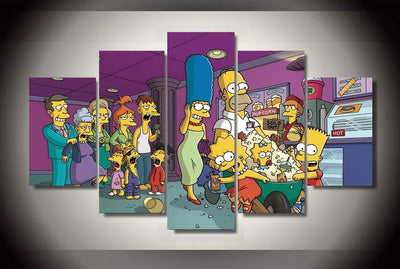 The Simpsons Painting - 5 Piece Canvas-Canvas-TEEPEAT