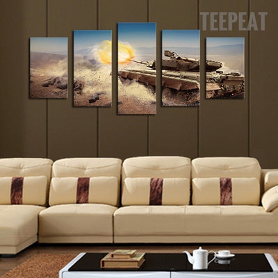 Modern Tank On The Dusty Road - 5 Piece Canvas-Canvas-TEEPEAT