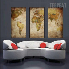 World Map - 3 Piece Canvas Painting
