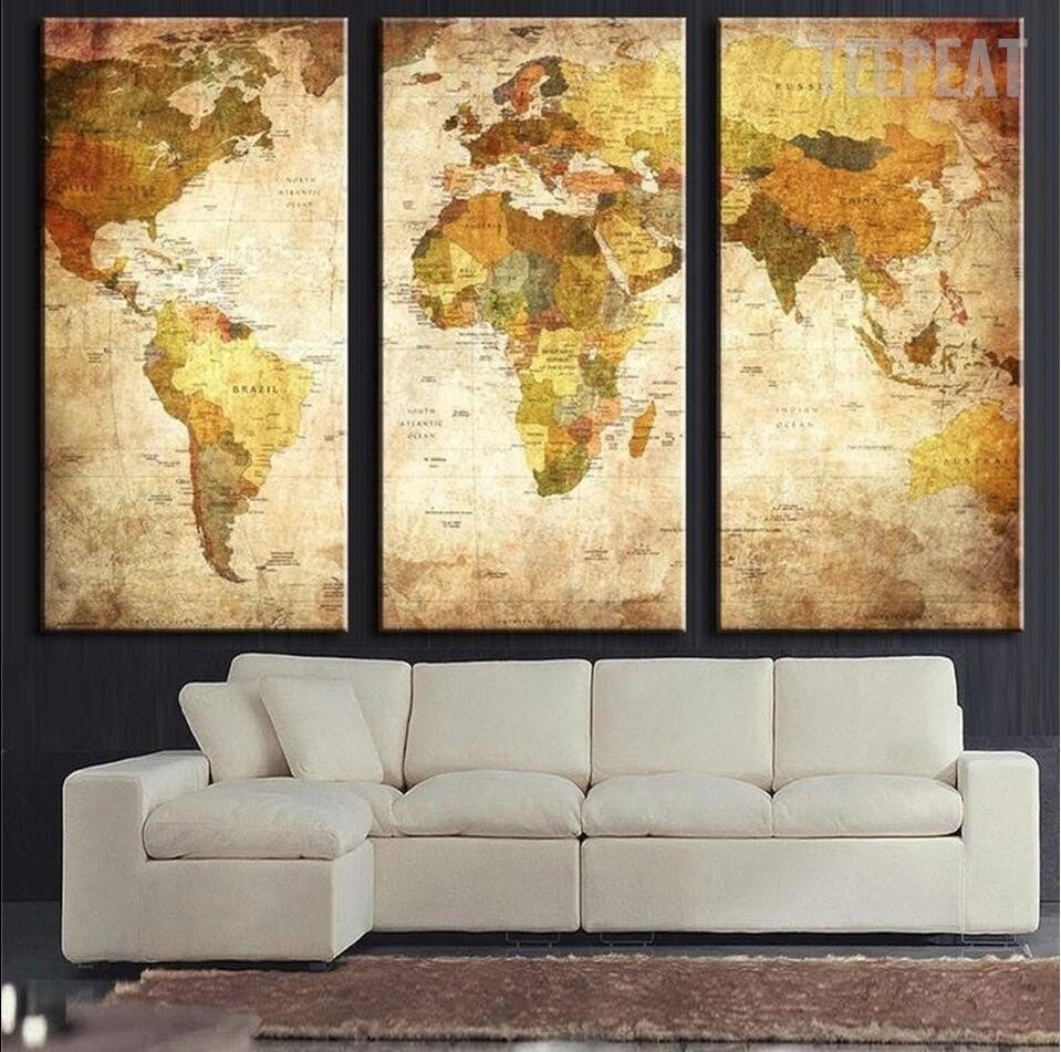 The Blue World Map - 3 Piece Canvas Painting - Empire Prints