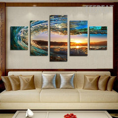 Sea Wave Painting - 5 Piece Canvas