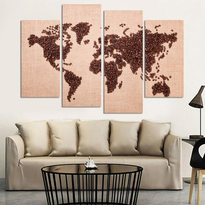 World Map Painting - 4 Piece Canvas-Canvas-TEEPEAT
