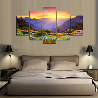 Sunrise In The Mountains Painting - 5 Piece Canvas-Canvas-TEEPEAT
