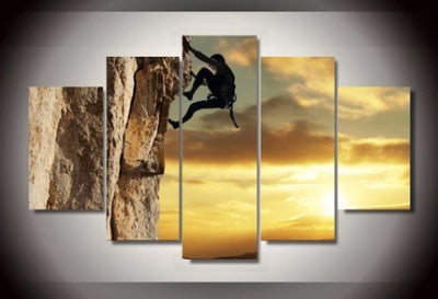 Mountain Climbing - 5 Piece Canvas Painting-Canvas-TEEPEAT