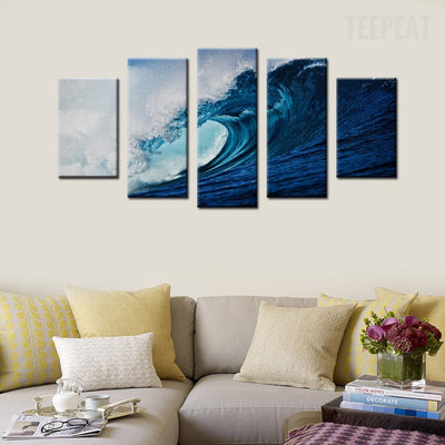 Tropical Waves Painting - 5 Piece Canvas-Canvas-TEEPEAT