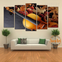 Still Life Violin Painting - 5 Piece Canvas