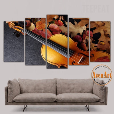 Still Life Violin Painting - 5 Piece Canvas-Canvas-TEEPEAT