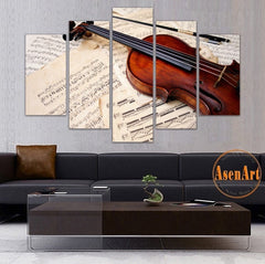 Musical Score & Violin Painting - 5 Piece Canvas