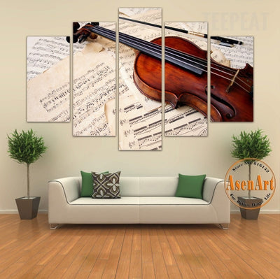 Musical Score & Violin Painting - 5 Piece Canvas-Canvas-TEEPEAT