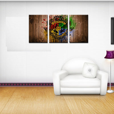 Hogwarts School Logo - 3 Piece Canvas Painting-Canvas-TEEPEAT