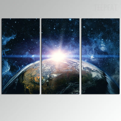 Planet Earth Painting - 3 Piece Canvas-Canvas-TEEPEAT