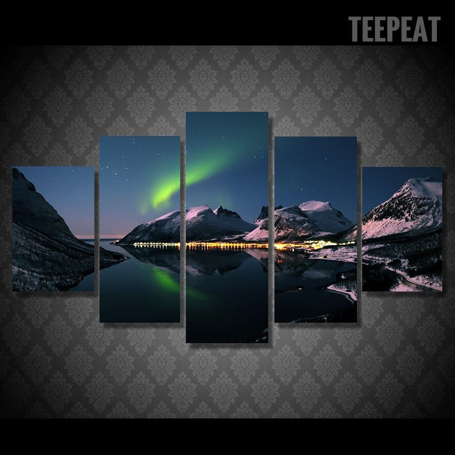 Northern Lights Painting - 5 Piece Canvas