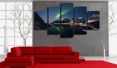Northern Lights Painting - 5 Piece Canvas-Canvas-TEEPEAT