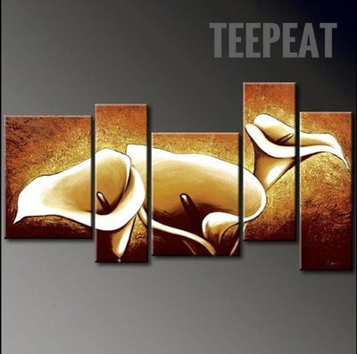 The Golden Flowers - 5 Piece Canvas Painting-Canvas-TEEPEAT