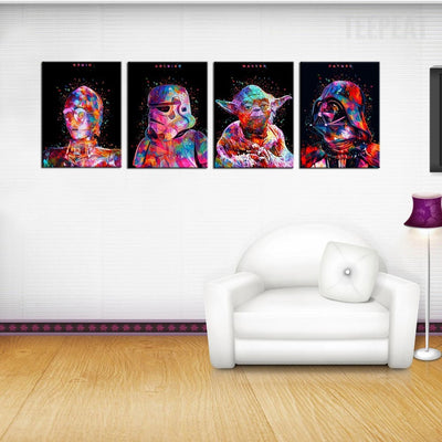 Star Wars Cartoon Figures Painting - 4 Piece Canvas-Canvas-TEEPEAT