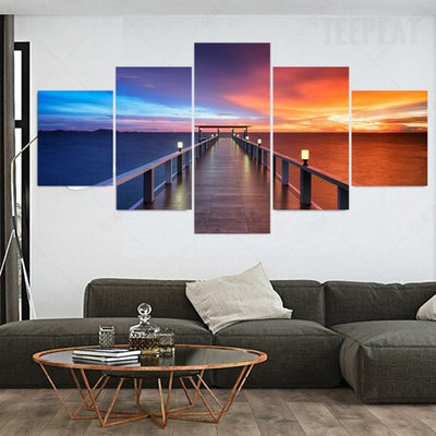 Stunning Rainbow Bridge - 5 Piece Canvas Painting-Canvas-TEEPEAT