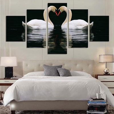 White Duck Lovers Swimming In The Lake - 5 Piece Canvas-Canvas-TEEPEAT