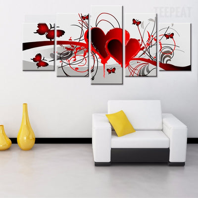 Lovely Hearts and Butterflies - 5 Piece Canvas-Canvas-TEEPEAT