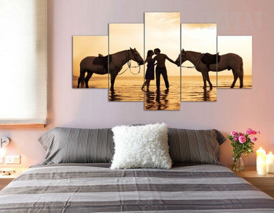 Two Horses And Romantic Lovers Kissing Before The Seascape - 5 Piece Canvas Painting-Canvas-TEEPEAT